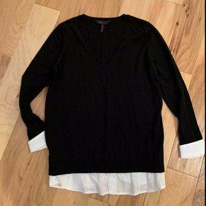BCBG Max Azria V Neck Black Sweater w/White Cuffs